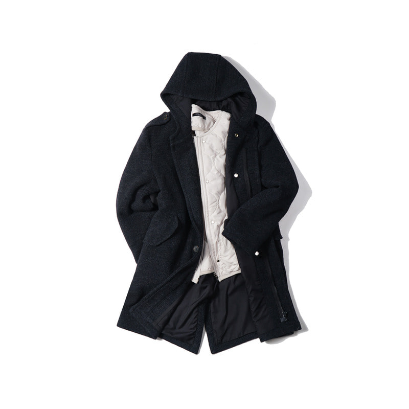 DEFENDER Hood Coat + DEFENDER Quilting Jacket(Beige)
