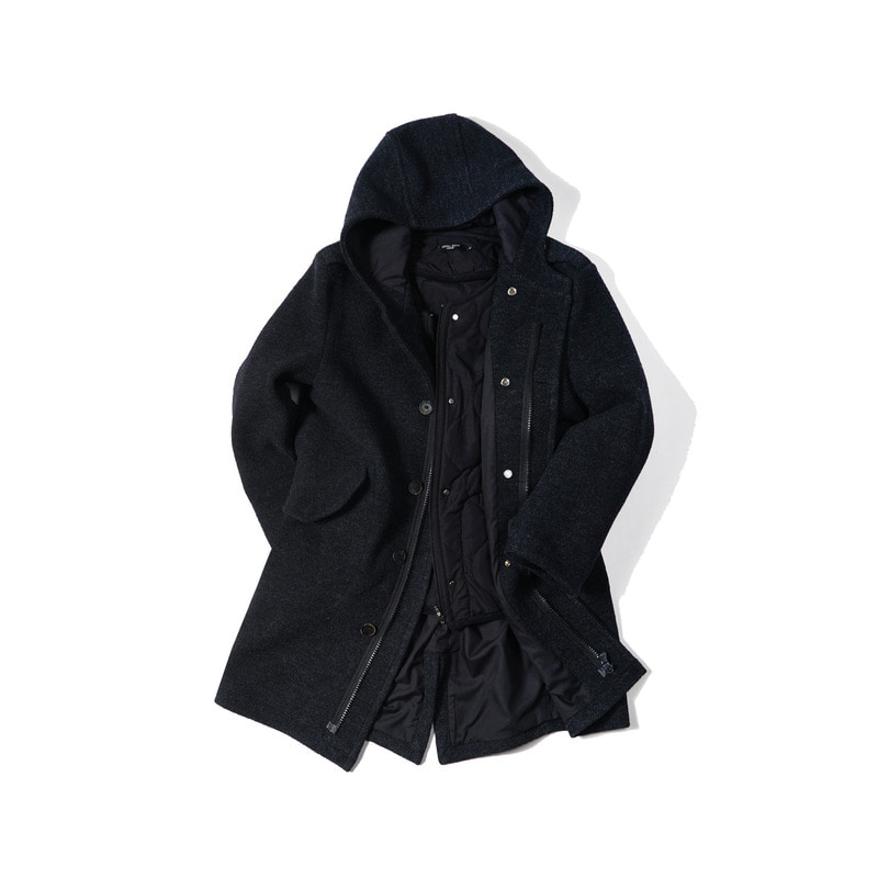 DEFENDER Hood Coat + DEFENDER Quilting Jacket(Black)